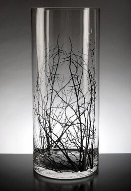 Birch Tree Branch  Clear Glass Cylinder Vase 14in