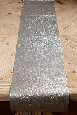 Glitter Ribbon Runner Silver 10in x 9ft