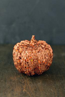 24  Copper & Orange Glittered 3in Pumpkins