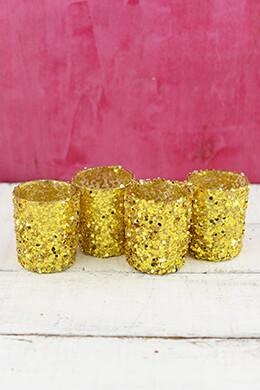 4 Gold Sequin Votive Holders