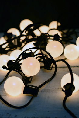 G50 Globe Wedding Light String Set, 25 Lights Pearl White 24 FT