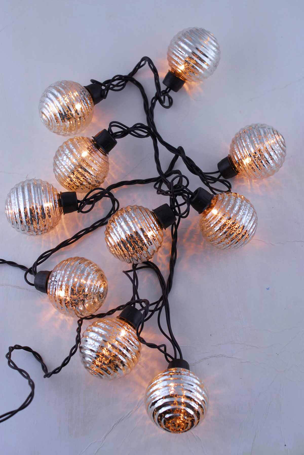 Globe Lights Mercury Glass String Light End To End 6ft 10ct Outdoor