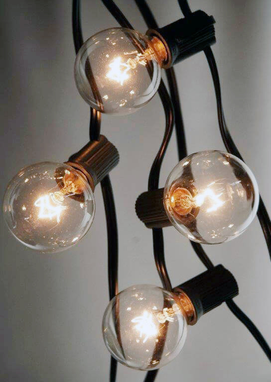 25 Outdoor Patio String Light Set G40 Clear Globe Bulbs 28 FT Black Cord  E12 C7 Base, ...