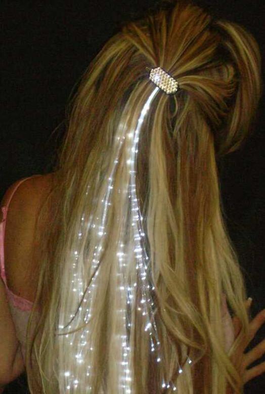 WHITE GEM Glowbys Fiber Optic Hair Extension Lights with Crystal Barrette