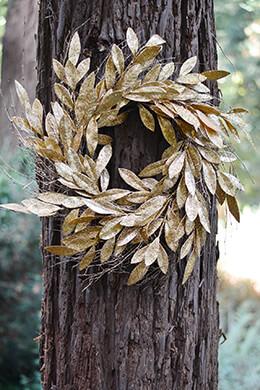 Gold Bay Leaf Wreath 24in