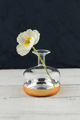 Gold Dipped Bud Vase 4x4.25in Profile Bottle