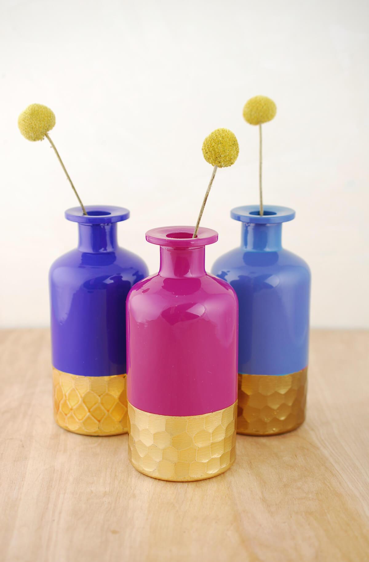 3 Boho Gold Honeycomb Bud Vases