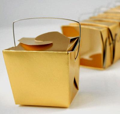 12 Tiny Gold Metallic Takeout Boxes  8oz