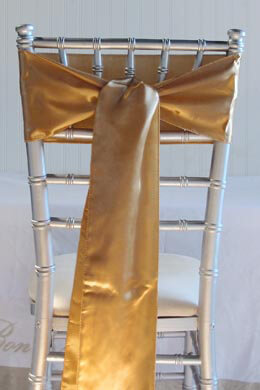 10 Gold Satin Chair Sashes