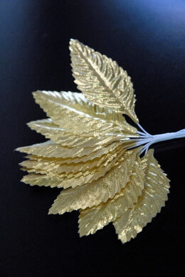 Gold Wired Corsage Rose Leaves 72 Pieces