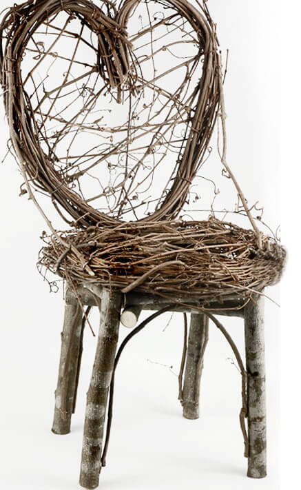 Handmade Grapevine Amp Birch Heart Back Chair 24in