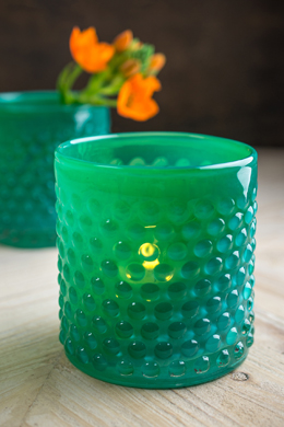 Green Glass Hobnail Votive Candle Holder