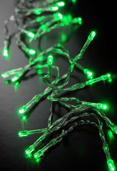 Green Led Battery Operated Lights 30 Lights Clear Wire 11