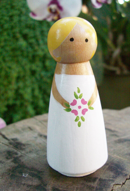 """Hand Painted Cake Toppers  Bride with Blond Hair 3.5"""""""