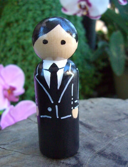 Hand Painted Wedding Cake Topper Groom with Black Hair 3.5in