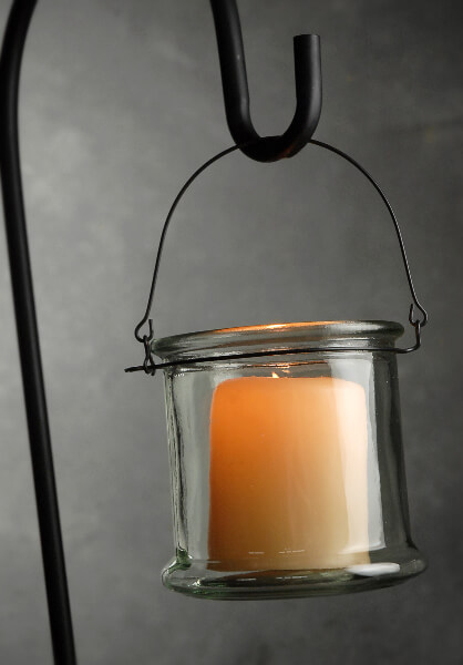 Hanging Glass Candle Holder with Metal Hanger