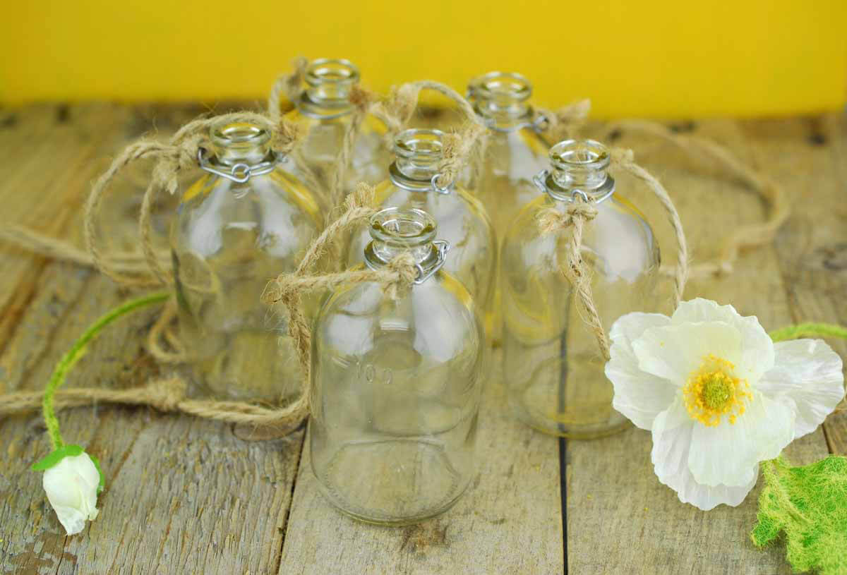 6 Hanging Glass Bottles With Twine