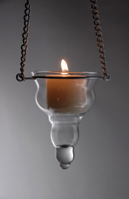 12 Hanging Glass Tealight Candle Holders 3.5""