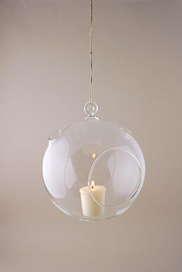 Hanging Glass Globes & Candle Holder 7in