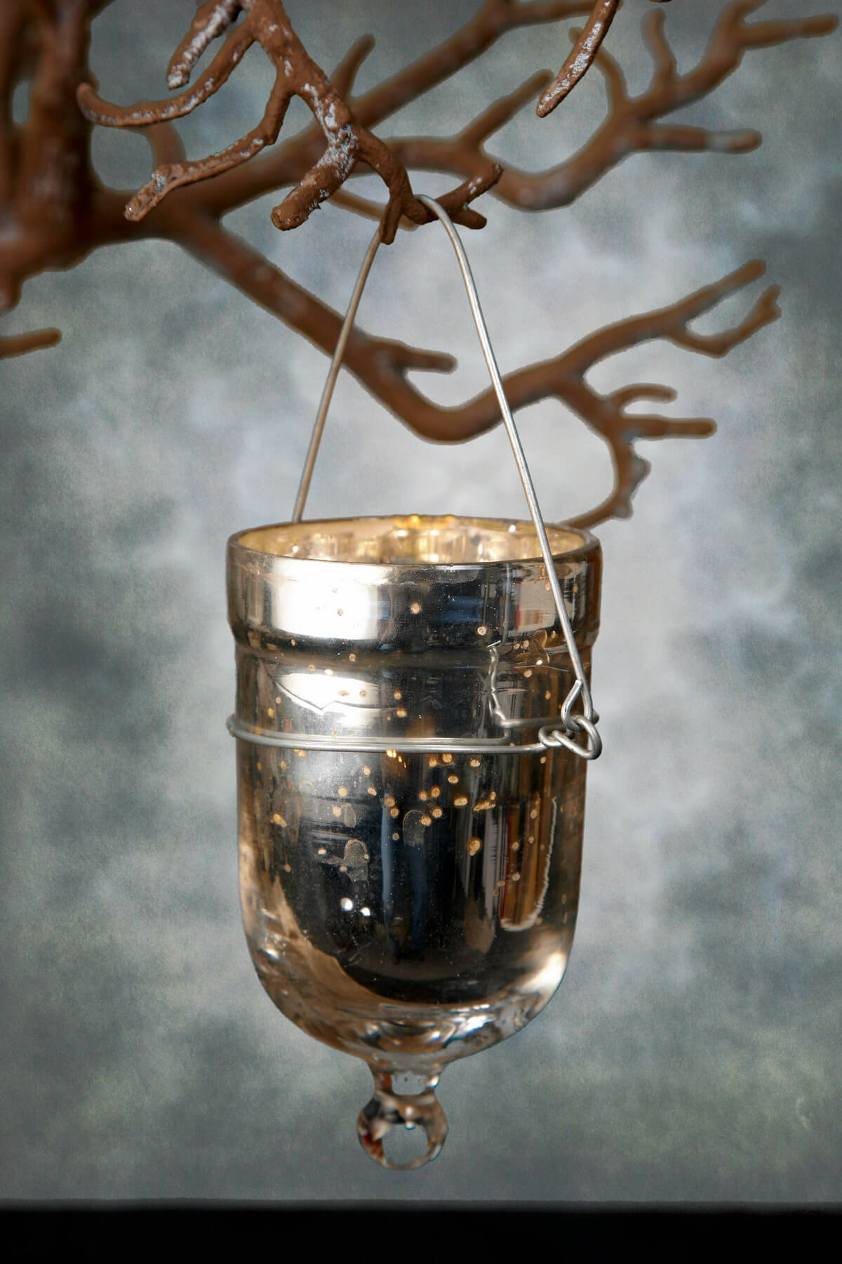 6 mercury glass hanging votive candle holders for Hanging votive candles