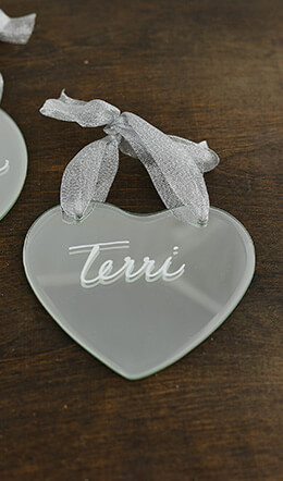 6- Small Heart Shaped Mirror Tags with Ribbon Hanger 4.5x4.25in