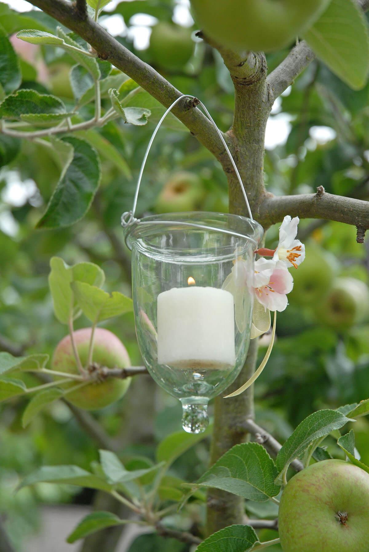 6 glass hanging votive holders for Hanging votive candles