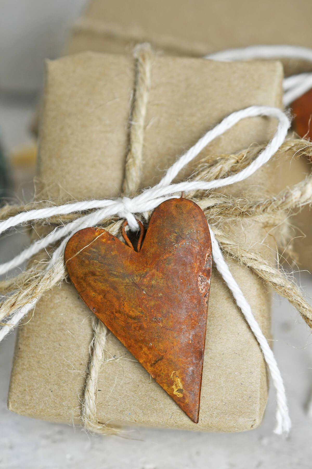 12 Rustic Tin Rusty Puffy Heart 2in.