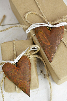 12 Rustic Tin Rusty Puffy Heart 3in.