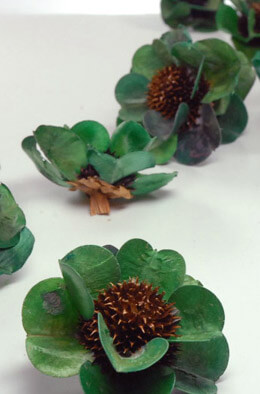 18 Handmade Green Palm & Thistle Flowers