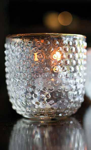 Hobnail Gold Trimmed Glass Votive Holder