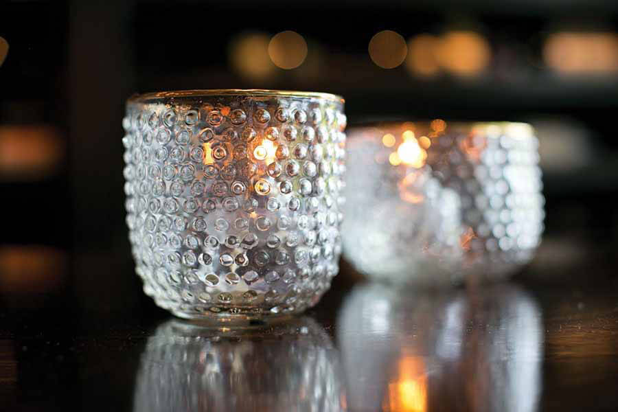 Hobnail Gold Trimmed Glass Votive Holder
