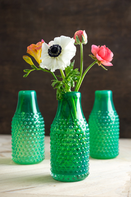 Vintage Hobnail Green Bottle Vase