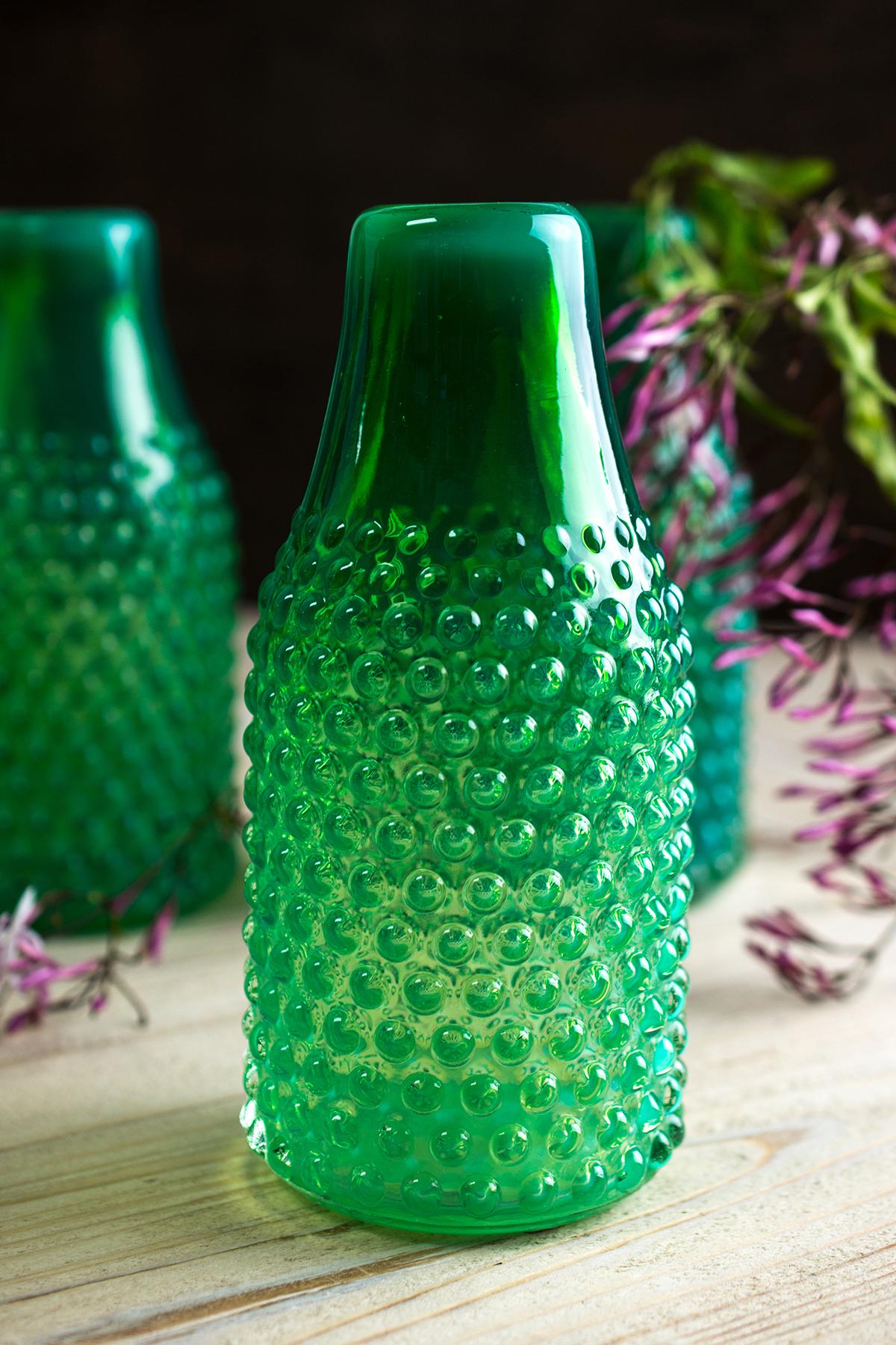 Vintage Hobnail Green Bottle Vase