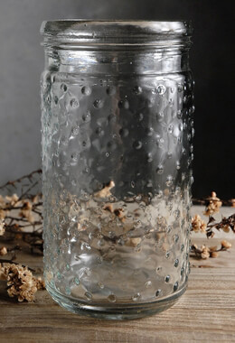 Clear Glass Hobnail Mason Jar 7in