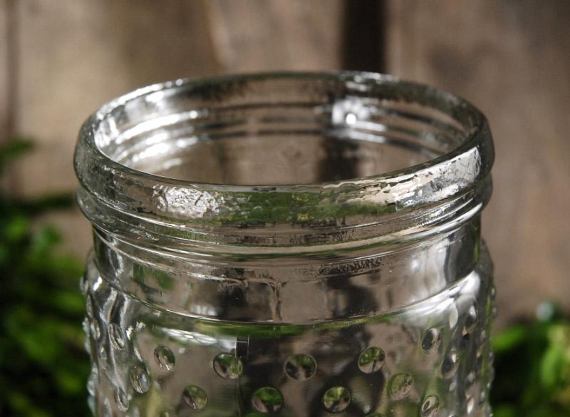 Hobnail Mason Jar Vases 9.25 Inch