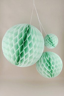 Set of 3 Mint Green Paper Honeycomb Balls Party Decorations