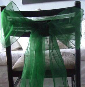 "10 Hunter Green Organza Chair Sashes 9"" Wide"