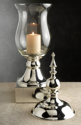"""Tall Glass & Silver Apothecary Jar  22"""""""