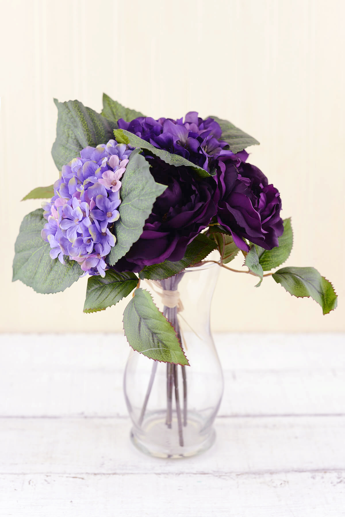 Purple Silk Hydrangea & Rose Flower Bouquet 12in