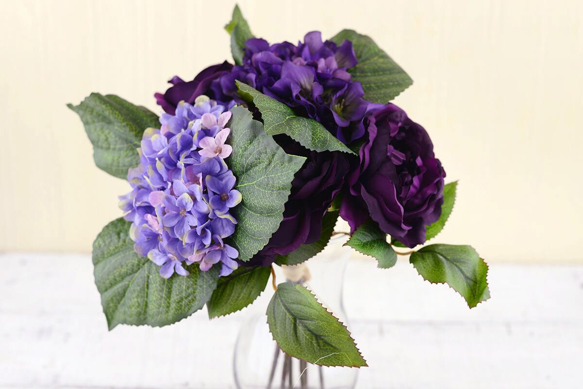 Purple Silk Hydrangea & Rose Flower Bouquet 12in