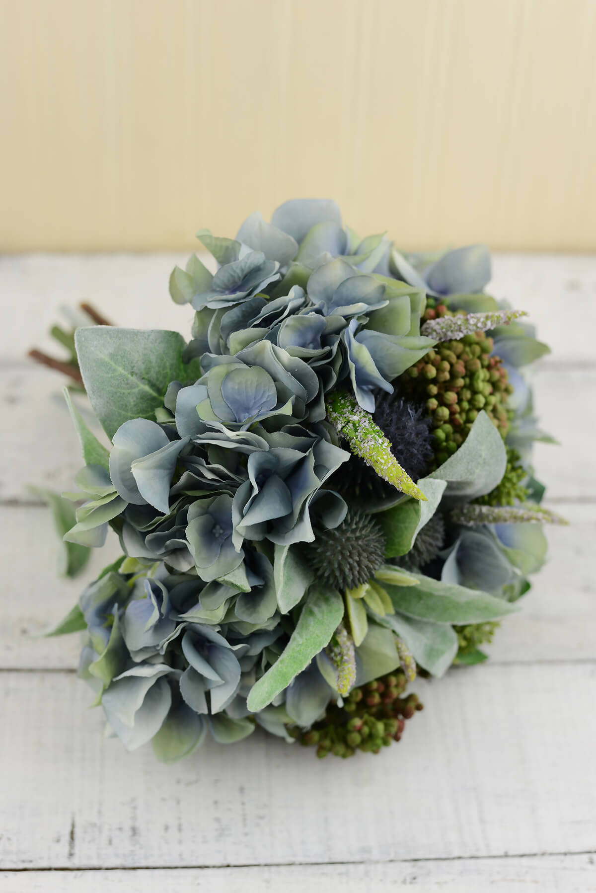 Blue Hydrangea Thistle Lambs Ear Bouquet 11in