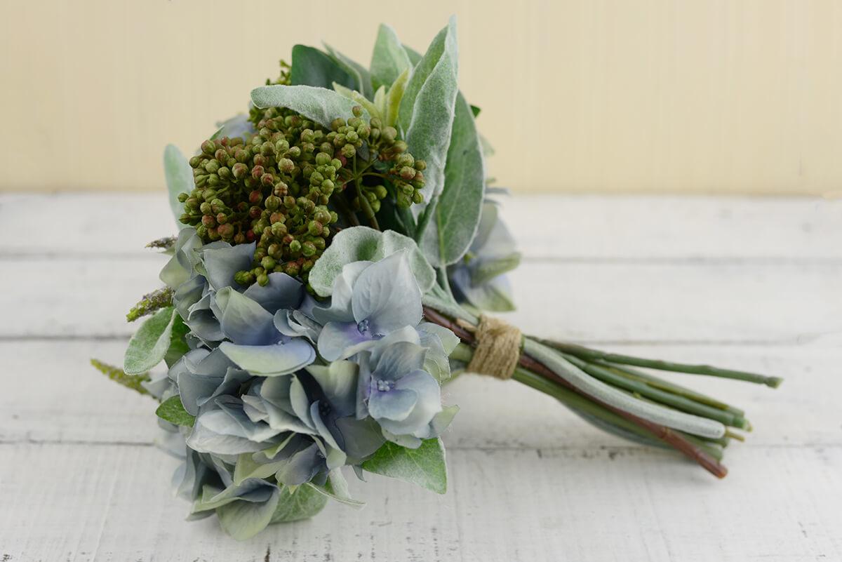 Blue Hydrangea, Thistle, Lambs Ear Bouquet 11in
