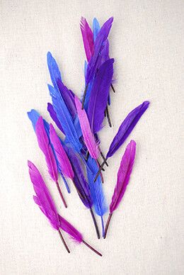 """72 Blue & Purple 3""""- 4"""" Indian  Turkey Quill Feathers"""