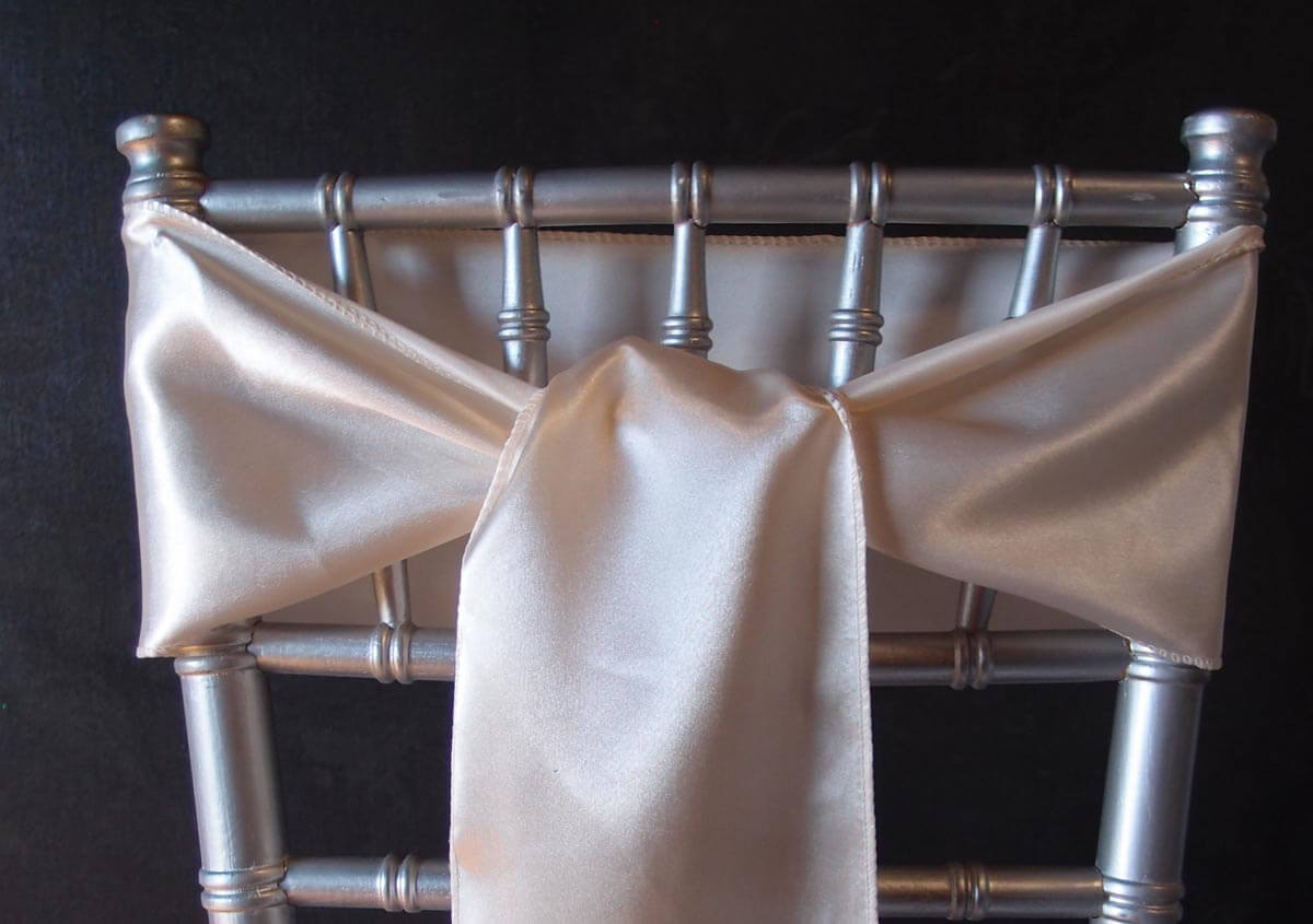 10 Ivory Satin Chair Sashes 6x106