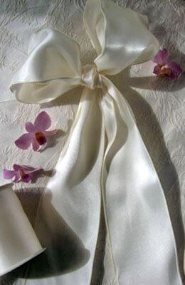 "Ivory Satin 4"" Wide Wired Ribbon, Wedding Ribbon 10yd"