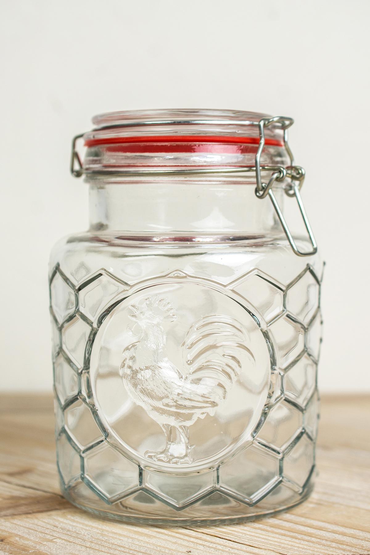 Honeycomb Farm House Glass Air Seal Jars 7in