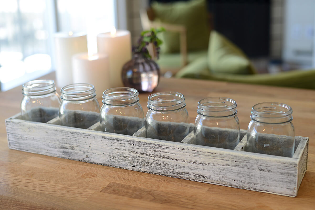 Long Whitewashed Crate with 6 Mason Jars 23""