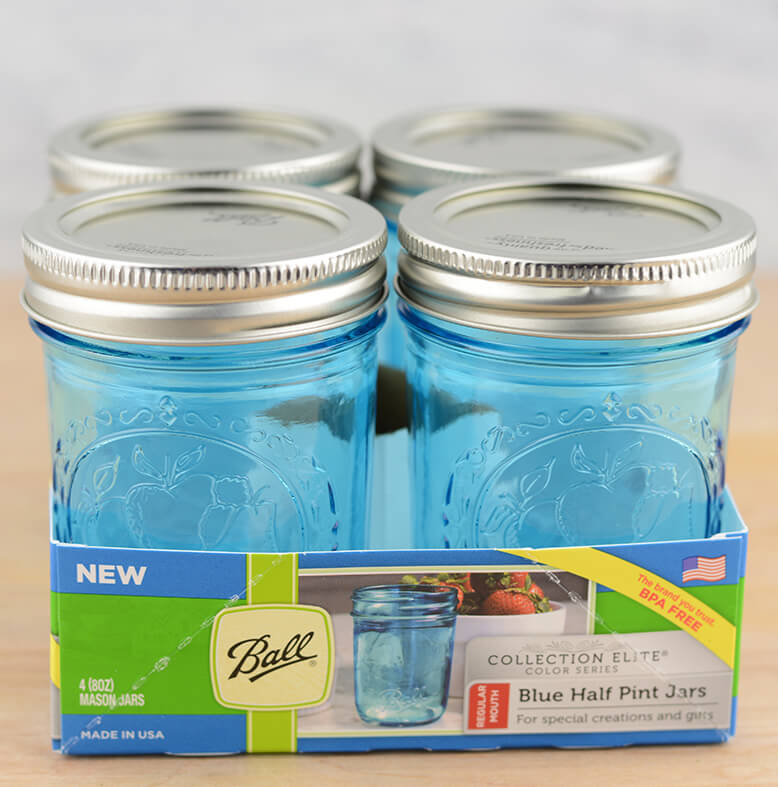 Mason Jars 8 Oz Regular Mouth Jars Set Of 4 Blue Elite