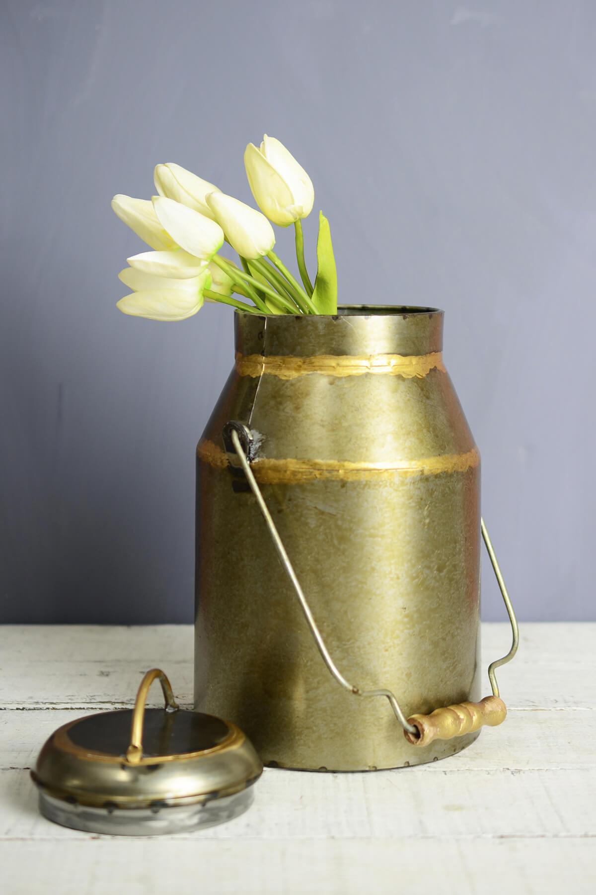 Bronze Milk Can Vase  10in