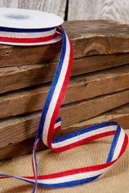 Red White & Blue Jute Ribbon 5/8in x 10 yards